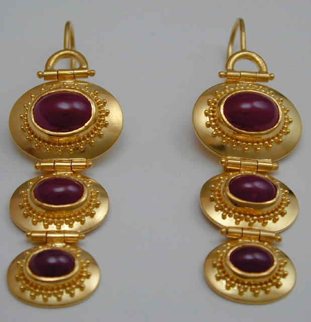 Granulated Ruby Earrings